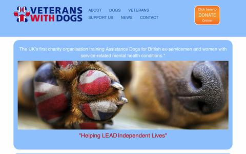 Screenshot of Home Page veteranswithdogs.org.uk - Veterans With Dogs - captured June 12, 2017