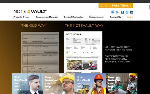 Screenshot of Home Page notevault.com - NoteVault - The Best in Construction Daily Reporting - captured Feb. 21, 2016