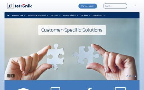 Screenshot of Services Page tetronik.com - tetronik GmbH - Services - captured Dec. 16, 2016