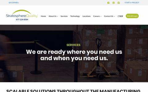 Screenshot of Services Page stratospherequality.com - Services – Stratosphere Quality - captured Jan. 12, 2018