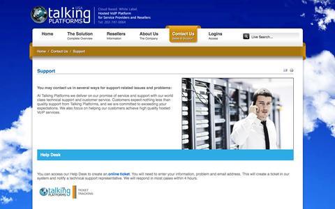 Screenshot of Support Page talkingplatformsusa.com - Support for Talking Platforms white label hosted voip services platform - captured Jan. 10, 2016