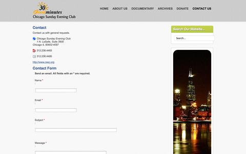 Screenshot of Contact Page csec.org - Chicago Sunday Evening Club - Contact Us - captured Oct. 2, 2014