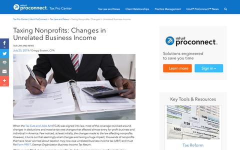 Screenshot of Press Page intuit.com - Taxing Nonprofits: Changes in Unrelated Business Income | Tax Pro Center | Intuit ProConnect - captured Nov. 21, 2019