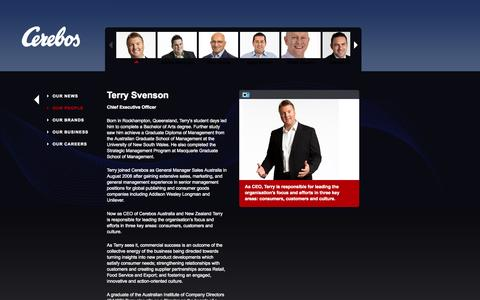 Screenshot of Team Page cerebos.com.au - Cerebos - People - Terry Svenson - captured Sept. 29, 2014
