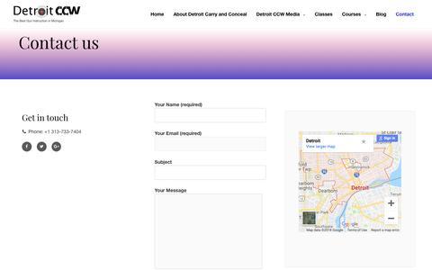 Screenshot of Contact Page detroitccw.com - Contact « Detroit CCW - captured Oct. 19, 2018