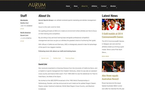 Screenshot of About Page aurumsportsgroup.com - About Us - Aurum Sports Group is an athlete-centered sports marketing and athlete management agency. - captured Sept. 30, 2014