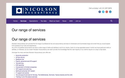 Screenshot of Services Page nicolsonaccountancy.co.uk - Our range of services - Nicolson Accountancy - captured Oct. 25, 2017