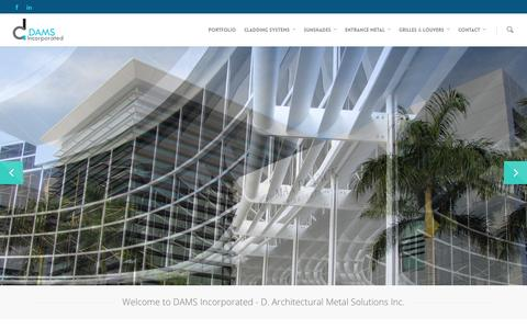 Screenshot of Home Page damsinc.com - Architectural Metal Solutions | Architectural Aluminum Fabrication | DAMS Incorporated - captured Jan. 24, 2015