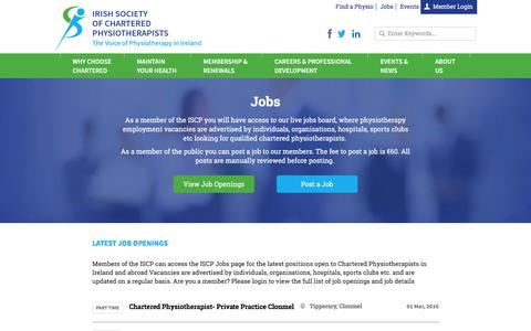 Screenshot of Jobs Page iscp.ie - Latest Job Openings | Irish Society of Chartered Physiotherapists - captured Jan. 20, 2016