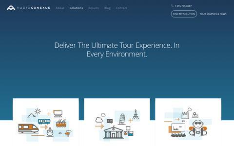 Screenshot of Products Page audioconexus.com - Solutions - AudioConexus - captured Oct. 2, 2018