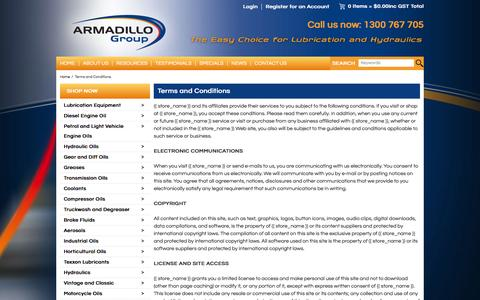 Screenshot of Terms Page armadillogroup.com.au - Terms and Conditions - captured Dec. 26, 2015