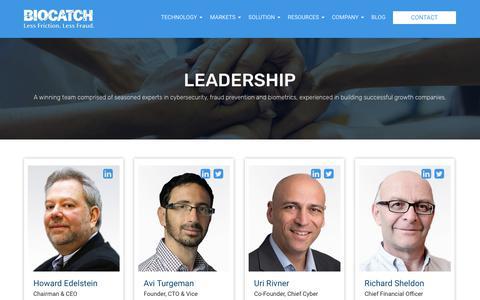 Screenshot of Team Page biocatch.com - Behavioral Biometrics Experts | Management at BioCatch - captured July 13, 2018