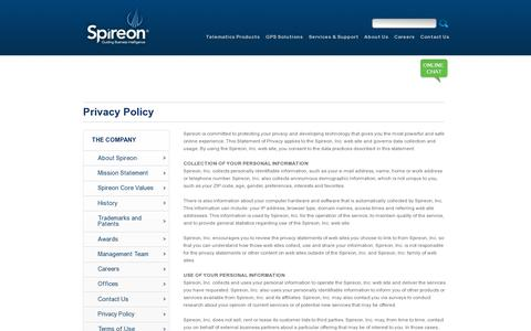 Screenshot of Privacy Page spireon.com - Privacy Policy - Spireon - captured July 18, 2014