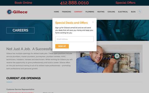 Screenshot of Jobs Page gillece.com - Careers - Gillece Services - captured Sept. 8, 2018