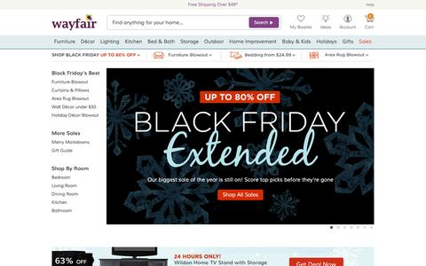 Screenshot of Home Page wayfair.com - Wayfair.com - Online Home Store for Furniture, Decor, Outdoors & More | Wayfair - captured Nov. 28, 2015