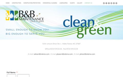 Screenshot of Contact Page squarespace.com - Contact Us — B&B Maintenance Enterprises - captured Sept. 11, 2014
