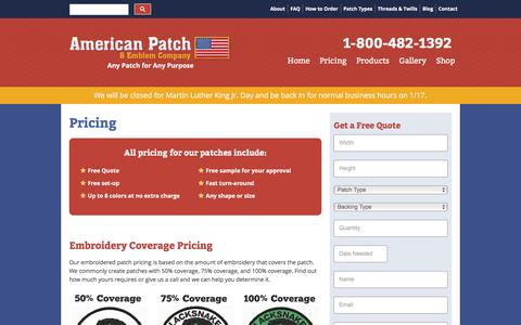 Screenshot of Pricing Page americanpatch.com - Embroidered Patches Pricing - American Patch - captured Jan. 20, 2017