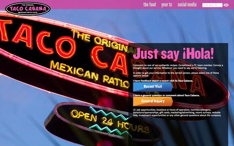 Screenshot of Contact Page tacocabana.com - Contact us at Taco Cabana. | Taco Cabana - captured Sept. 19, 2014