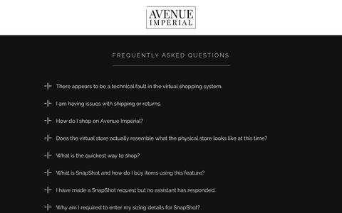 Screenshot of FAQ Page avenueimperial.com - Avenue Imperial – Virtual shopping for designer luxury fashion brands - captured Sept. 19, 2014