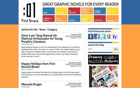 Screenshot of Press Page firstsecondbooks.com - News | First Second Books - captured Jan. 17, 2016