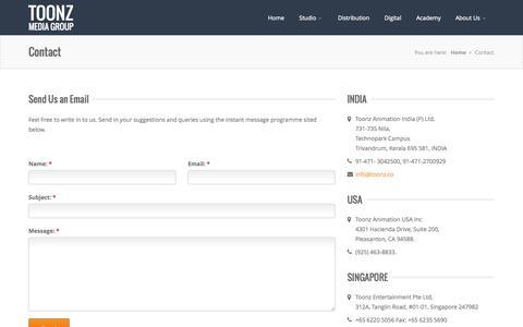 Screenshot of Contact Page toonz.co - Toonz Media Group - captured Oct. 7, 2014