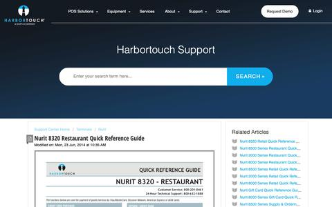 Screenshot of Support Page harbortouch.com - Nurit 8320 Restaurant Quick Reference Guide : Harbortouch Support Center - captured Oct. 9, 2018