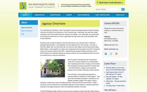 Screenshot of About Page sfcjpa.org - San Francisquito Creek | Agency Overview - captured Oct. 4, 2014