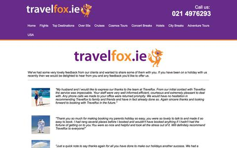 Screenshot of Testimonials Page travelfox.ie - Testimonials - captured Nov. 8, 2017
