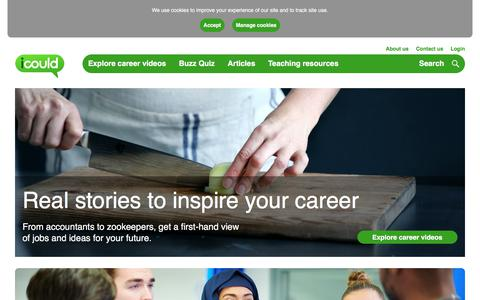 Screenshot of Home Page icould.com - Real-life career videos, advice and information to inspire your career - captured Sept. 23, 2018