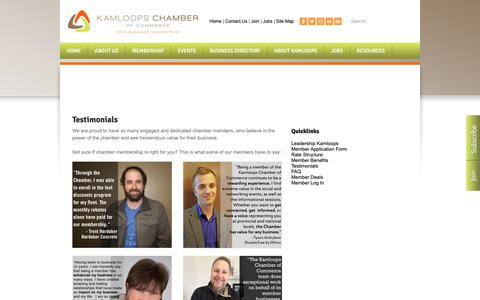 Screenshot of Testimonials Page kamloopschamber.ca - Testimonials - Kamloops Chamber of Commerce | Kamloops, BC - captured Oct. 14, 2018