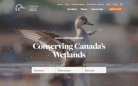 Screenshot of Home Page ducks.ca - Conserving Canada's Wetlands | Ducks Unlimited Canada - captured Nov. 14, 2018