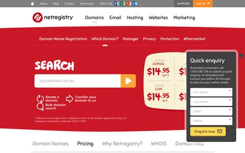 Screenshot of Pricing Page netregistry.com.au - Domain Name Registration and Renewal Pricing   Netregistry - captured May 6, 2017
