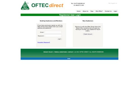Screenshot of Login Page oftecdirect.com - Oftec Direct Shop - Contact - captured March 29, 2017