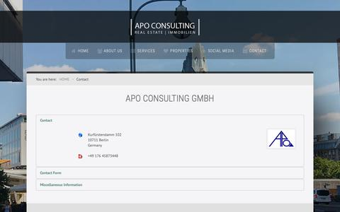 Screenshot of Contact Page apoconsulting.biz - APO Consulting GmbH - Contact - captured Oct. 2, 2018