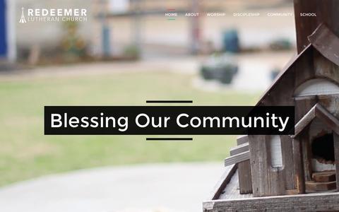 Screenshot of Home Page redeemer.net - Redeemer Lutheran Church - captured Feb. 16, 2016