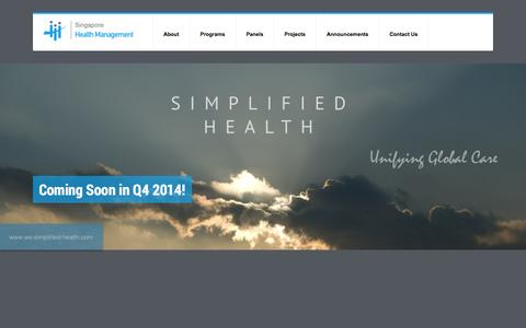 Screenshot of Home Page sghealthm.com - Singapore Health Management: Premium Health Management - captured Oct. 7, 2014