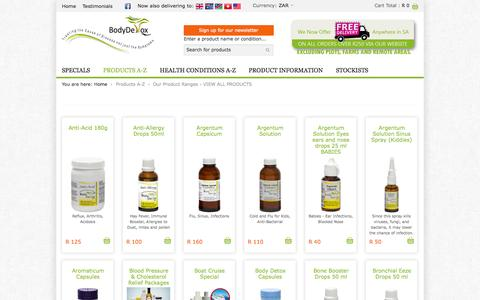Screenshot of Products Page bodydetox.co.za - VIEW ALL PRODUCTS - Miracle Magnesium from Body Detox - captured Nov. 2, 2014