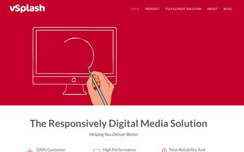 Screenshot of Home Page vsplash.com - The responsively digital media solution is customized for SMBs. - captured June 16, 2015