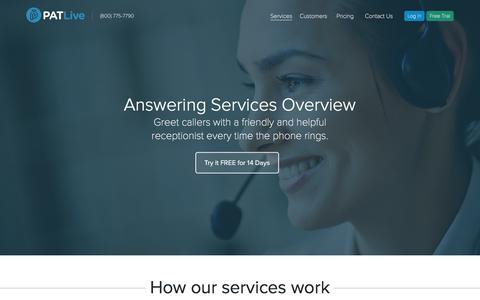 Screenshot of Services Page patlive.com - Answering Services & Features | PATLive - captured May 12, 2017