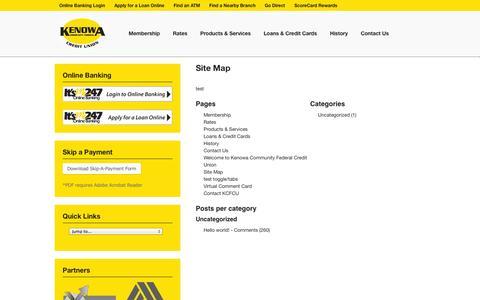 Screenshot of Site Map Page kenowacu.com - Site Map - Kenowa Community Federal Credit Union - captured Oct. 6, 2014