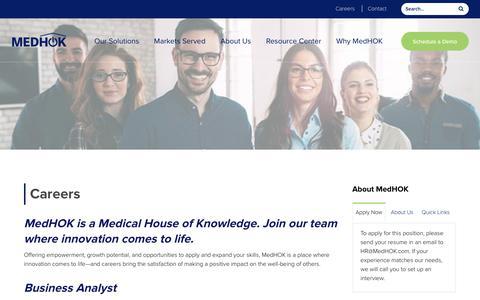Screenshot of Jobs Page medhok.com - Careers - MedHOK - captured Oct. 12, 2018