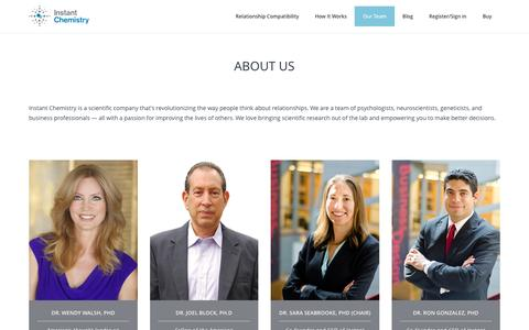 Screenshot of Team Page instantchemistry.com - Our Team - captured Feb. 11, 2016