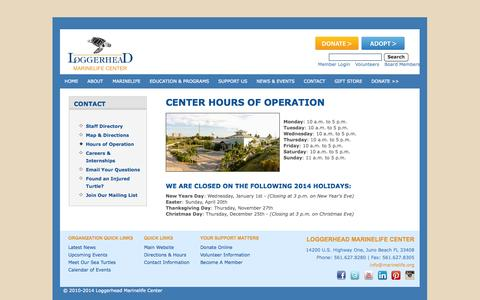 Screenshot of Hours Page marinelife.org - Contact - Hours - Loggerhead Marinelife Center, Inc. - captured Oct. 3, 2014