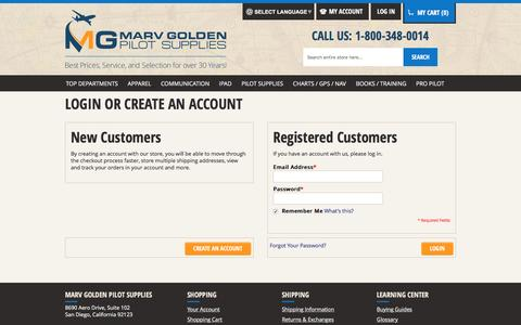 Screenshot of Login Page marvgolden.com - Customer Login  - Marv Golden Pilot Supplies - captured Feb. 12, 2016