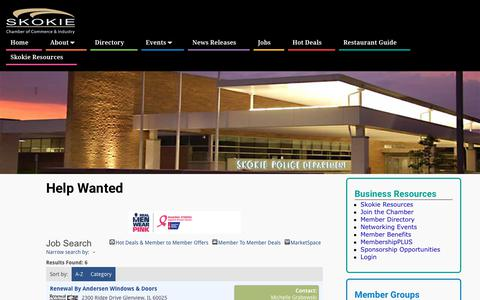 Screenshot of Jobs Page skokiechamber.org - Job Search - Help Wanted - Skokie Chamber of Commerce - captured Oct. 18, 2018