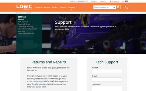 Screenshot of Support Page logicsupply.com - Technical Support  | Logic Supply - captured Feb. 17, 2017