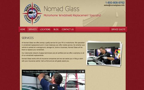 Screenshot of Services Page nomadglass.com - Motorhome Windshield Replacement Services by Nomad Glass - captured Oct. 22, 2014