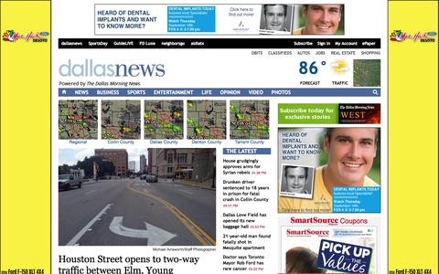 Screenshot of Home Page dallasnews.com - The Dallas Morning News | Dallas-Fort Worth News, Sports, Entertainment, Weather, Traffic - captured Sept. 18, 2014