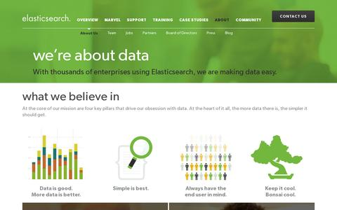 Screenshot of About Page elasticsearch.com - Elasticsearch.com About | Elasticsearch - captured July 19, 2014