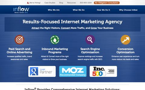 Screenshot of Home Page goinflow.com - Inflow: Results-Focused Internet Marketing Agency in Denver - captured Oct. 1, 2015